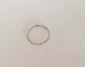 Silver skinny beaded stacking ring