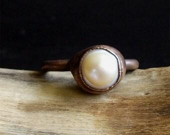 Creamy Pearl Ring June Birthstone Size 8 Ring Iridescent Ring Raw Gem Gemstone Ring Artisan Handmade