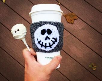 Disney coffee cup cozy, nightmare before Christmas gift, coffee sleeve, disney vacation, halloween, jack skellington mug cozy,skeleton