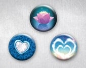 Graphic Love Hearts and Lotus Flower, Pinback Buttons, Original Art Design, 1.25 inch, Set of 3