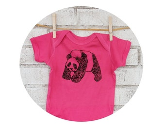 Hot Pink Panda Bear Screenprinted Baby Onepiece Bodysuit, Hand Printed Short Sleeved Cotton One Piece Zoo Party Baby shower gift Wild Animal