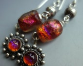 Vintage Dragons Breath Basha Beads Sterling Earrings