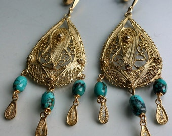 Sterling Gold Wash Filigree Turquoise Earrings