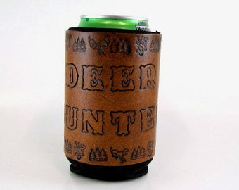Leather Deer Hunter Can Holder Made to Order Deer Hunting Can Cooler Hand Tooled Leather Beer Sleeve Whitetail Deer Hand Stamped Leather