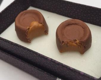Pair of miniature rolo chocolate cufflinks