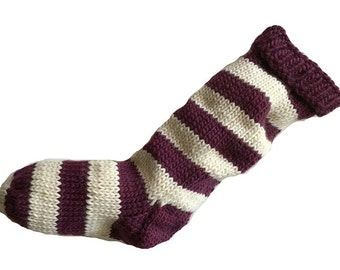 Hand Knit Christmas Stocking Hand Knit Plum Purple and Natural White Striped Santa Sock