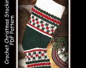 Crochet Christmas Stocking Pattern - Instant Download - PDF 10110618