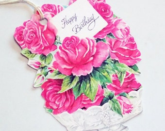 Birthday Roses - Set of 3 - Gift Tags - Birthday Bouquet - Vintage Birthday  - Pink Rose Tags - Retro Flower Tag - Happy Birthday -