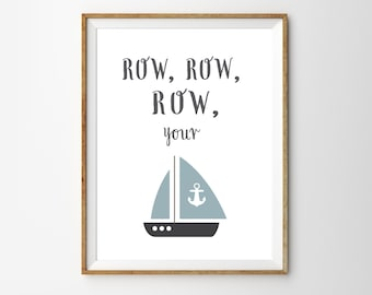 Nursery Rhyme Wall Art Print Kids Boat Decor Classic Themed Baby Room Poster Row Row Row Your Boat Nautical Kids Room