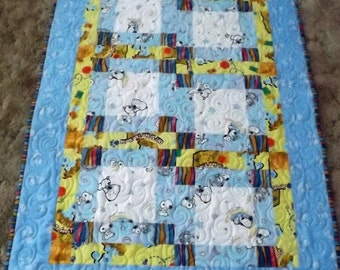 Childrens Delight baby quilt, Toddler quilt blue, Snoopy quilt