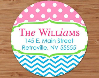 Fresh Dots & Chevron - CUSTOM Address Labels or Stickers