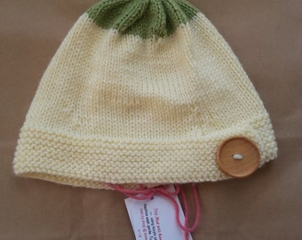 Knitted Cream and Pale Green Button Hat