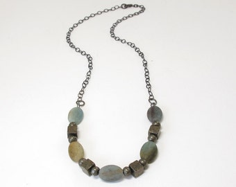 Matte Blue Green Quartz Pyrite Necklace Oxidized Silver