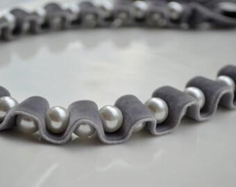 Velvet Pearl Necklace. Velvet Ribbon Necklace. Pearl Choker. Silver. Jet Ribbon Necklace. Winter Fashion. Grey. Gray. Velvet Ribbon Choker