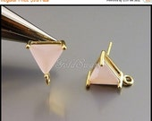15% SALE 2 ice pink & gold triangle shape earring posts, triangle glass earrings with loop 5138G-PI