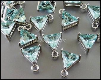 2 aqua blue / light blue aquamarine triangle pendants for necklace / bracelet / earring making 5145R-AQ
