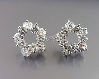 2 large tiered CZ flower earrings, Cubic Zirconia earrings, bridal earrings E2055-BR