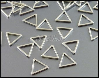 8 pcs small 10mm simple triangles in matte silver, perfect for making geometric earrings, necklace and charm bracelet 935-MR-10