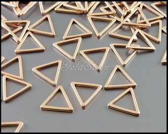 8 high quality matte rose gold tiny triangle charms, brass triangles, rose gold geometric triangle charms 935-MRG-10
