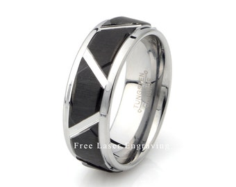 two tone black brushed tungsten carbide wedding bandmens brushed tungsten 8mmmens