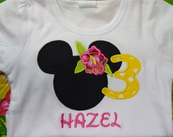 Minnie Mouse Luau Puff Sleeve t-shirt  (kids)
