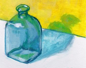 Original Still Life painting - blue glass vase