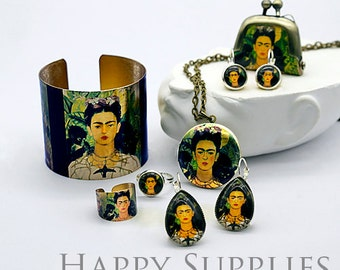 1pcs (JS16) Frida Kahlo Art Handmade Antique Bronze Brass Photo Jewelry Cuff / Locket / Purse / ...