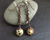 Copper earrings with dalmation jasper bead, wirework jewelry, oxidized copper finish, twist and coil design, copper wedding anniversary