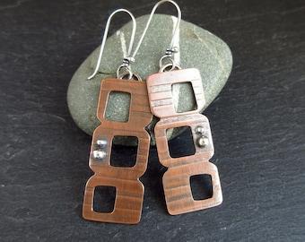 Copper and silver earrings, retro shape, stripe pattern, oxidized finish, silver balls, groovy design earrings, copper metalwork jewelry