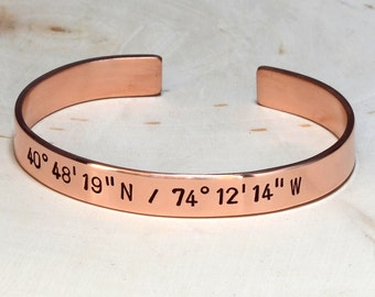 Copper latitude longitude cuff bracelet personalized with your special coordinates - BR023