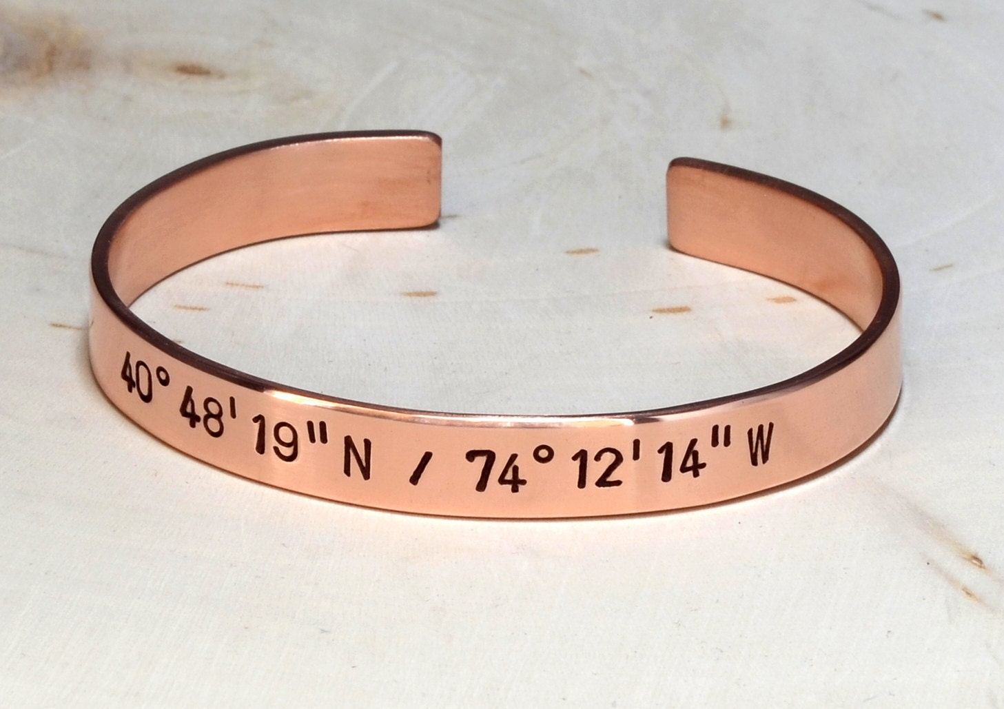 copper latitude longitude cuff bracelet personalized with your