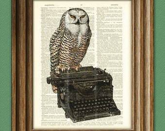 The Writer's Muse Owl on a Typewriter print over an upcycled vintage dictionary page book art