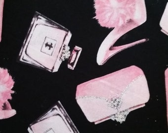 Fun Pink High Heel Shoes n Purse Quilting Fabric--HARD Find  40-70% Off Patterns n Books SALE