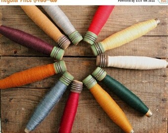 SALE Today You Pick Vintage Thread Bobbin Colors for Holiday Home Decor Wool Threaded Industrial Era Wooden Spool Neutral Primitive