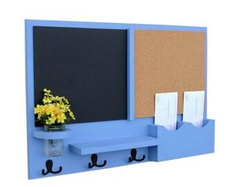 Mail Organizer -  Message Center - Cork Board - Chalk Board -  Coat Rack - Mason Jar - Coat Hooks