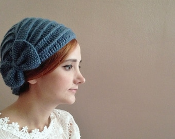 Soft Blue Crochet Turban Beret with Bow