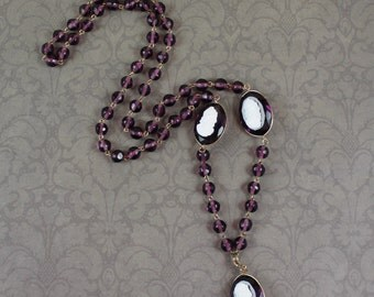 Vintage White Cameo Amethyst Crystal Beaded Long Necklace