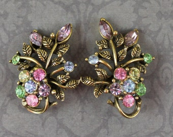 Vintage Mid Century Coro Pastel Rhinestone Golden Floral Clip On Earrings