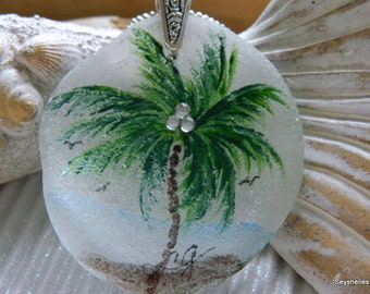 Painted Palm Tree on Beach Sea Glass Purse or Mirror Hanger