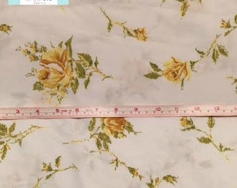 Twin Vintage Flat Sheet with Yellow Roses