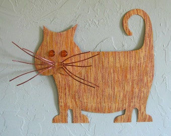 Metal Wall Art Cat Sculpture Yellow Tabby Fat Cat Kitty Decor Wall Hanging Recycled Metal Wall Animal Art Whimsical Cat 13 x 13