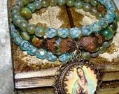 Green earth Picasso beads Our Lady of Guadalupe wrap bracelet Pamelia Designs