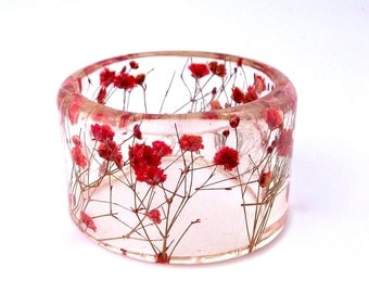 Size Large Red Botanical Resin Bracelet.  Resin Jewelry with Pressed Flowers.  Real Flowers - Red Baby's Breath. Resin Jewelry