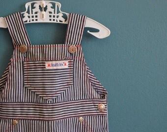Vintage 1970s Striped Denim Overalls by Health-tex- 6 Months