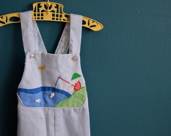 Vintage Blue and White Striped Overalls with Fishing Boy Applique - Size 18 Months