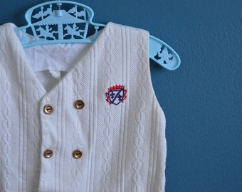 Vintage Baby's White Cable Knit Nautical Style Romper - Size 6 Months
