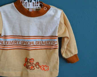 "Vintage Baby's ""Special Delivery"" Shirt with Airplane Applique - Size 3-6 Months"