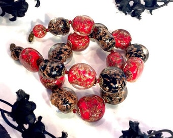 Fall into Vintage SALE Art Deco Italian Red Black Gold Speckle Murano Art Glass Vintage Necklace