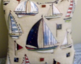 """SAILBOAT DECORATIVE PILLOW - 10"""" X 10"""", hand crafted. Cotton duck fabric."""