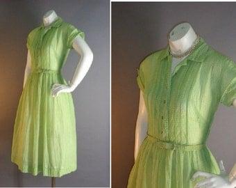 50s dress 1950s vintage GREEN SHEER leaf green nylon plissé rhinestones full skirt dress